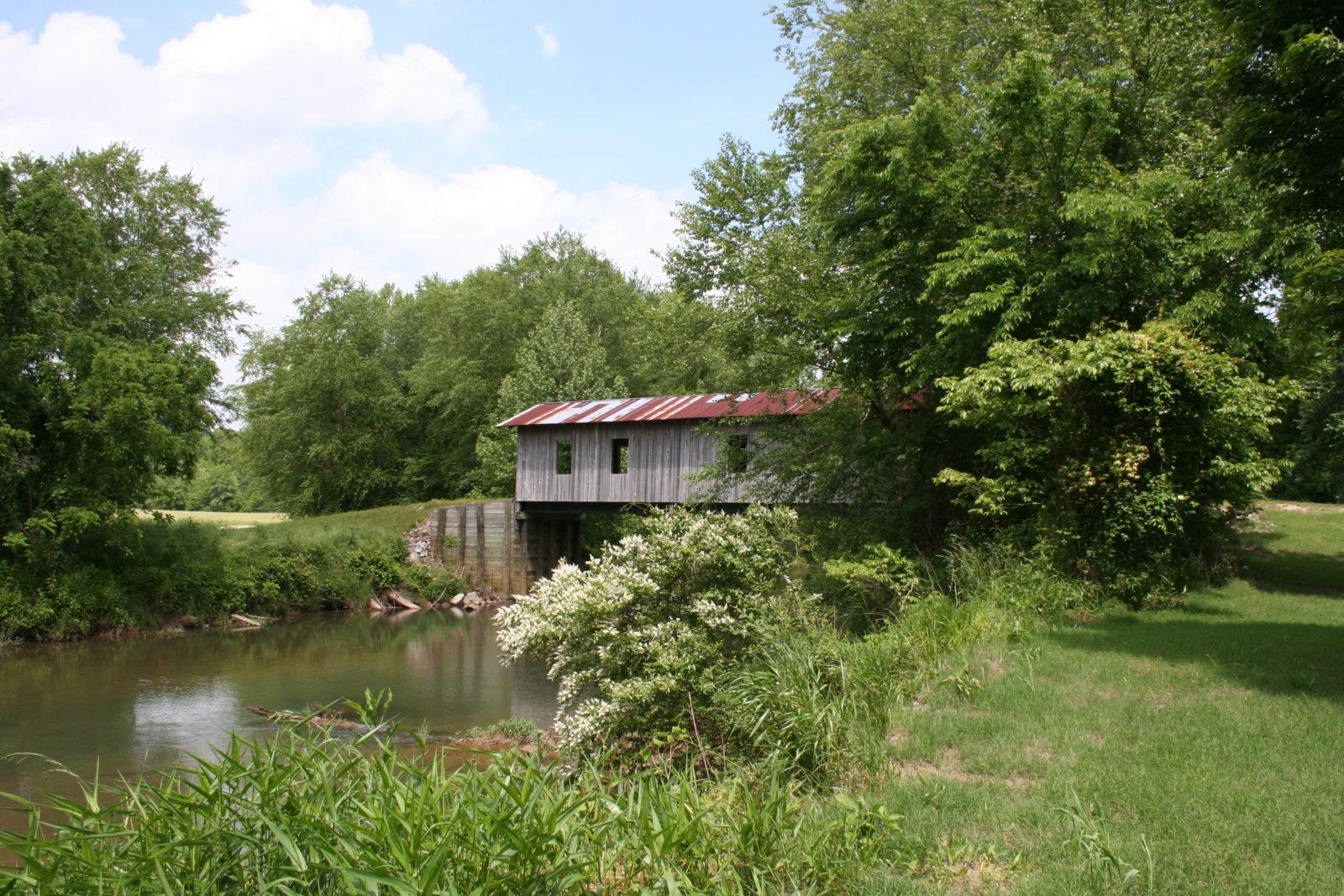covered bridge looking upstream